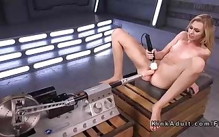 Lean light-haired was toying with big fuck sticks and porking machines, in front of the camera