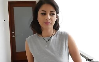 Smallish breasted dark haired with a magnificent smirk is deep-throating a yam-sized knob and railing it frantically