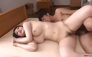 Dark haired Japanese actress Rie Tachikawa flashes off her rosy fuckbox and gets plunged so well
