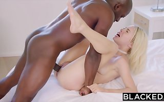 Ebony step father has romp with his youthfull milky haired step-daughter-in-law