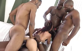 four BIG BLACK COCK Tear Her Bum Dana Santo